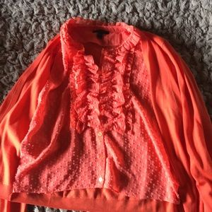 J Crew ruffle shirt with attached light sweater.